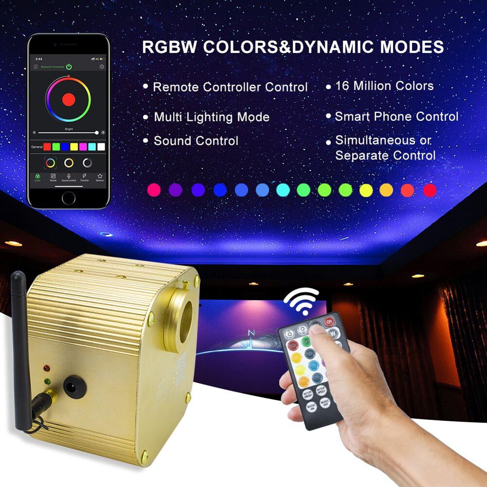 CREE Chip 16W Twinkle RGBW LED Engine Driver Fiber Optic Light Source Smart Bluetooth APP Control   For All Fiber Optic Cable