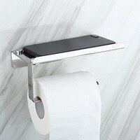 304 suporte de papel higiénico de aço inoxidável com suportes de prateleira de armazenamento do telefone móvel wall mounted rack 66cy