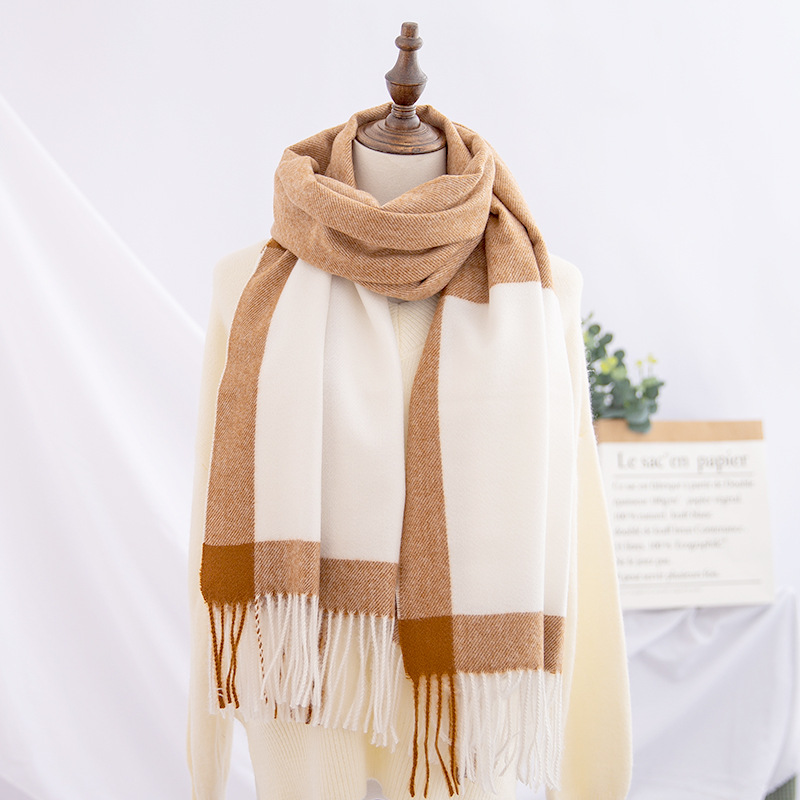 Buy Now  Winter Double-Sided Dual Purpose Bordered Design Scarf Women's Cashmere Wool Warm Shawl Versatile S