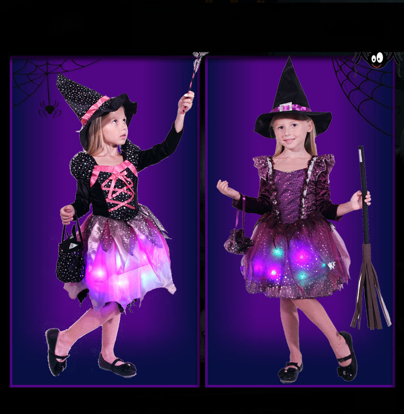 Girl Kids LED Light Witch Costume Children Cosplay Glowing Dress Carnival Birthday Party  Purim Halloween Costume for Kids