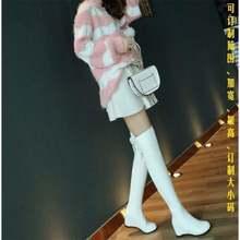 Увеличивающие рост Сапоги выше колен; Женские белые эластичные