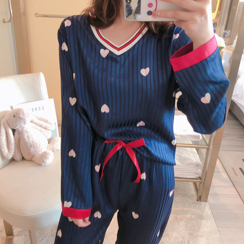 V-neck Women Silk Pajamas Set 2020 Spring Summer WAVMIT Women Sleepwear Set Fake Silk Women Pyjamas Set Print Long Sleeve