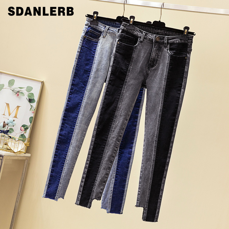 Women's Fashion Color Patch Jeans Pencil Pants Slim Skinny Stretch Denim Trousers Plus Size Fitting 4XL Jeans image