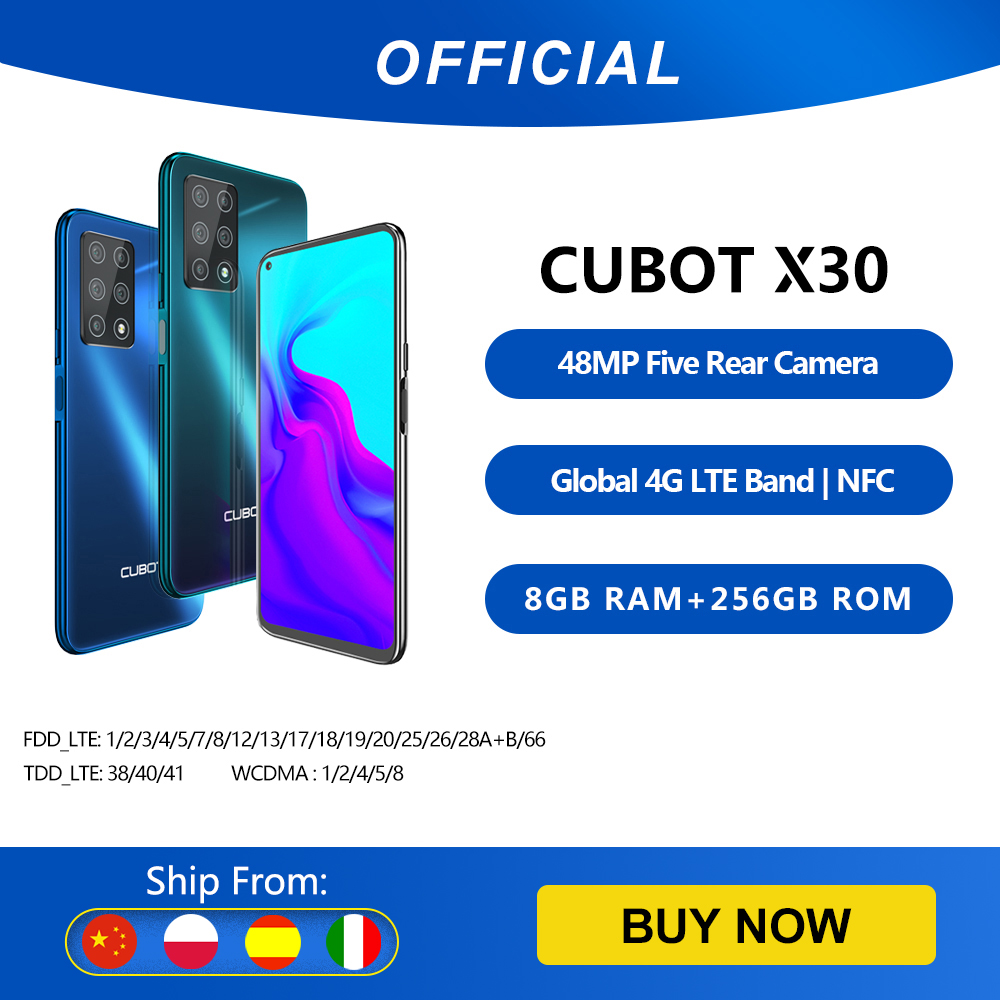 """Cubot X30 Smartphone 48MP Five Camera 32MP Selfie 8GB+256GB NFC 6.4"""" FHD+ Fullview Display Android 10 Global Version Helio P60 Cellphones  - AliExpress"""