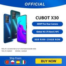Cubot x30 8gb smartphone 48mp cinco câmera 32mp selfie nfc 256gb 6.4