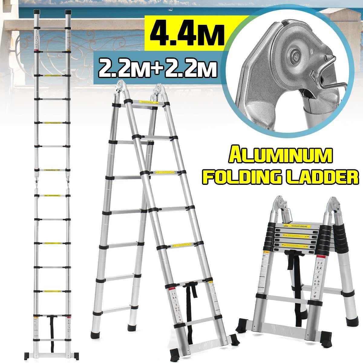 2.2m+2.2m 14.5Ft Folding Ladder Telescopic Ladders Aluminium Dual-Use Herringbone Ladder Multifunctional Single Extension Tools