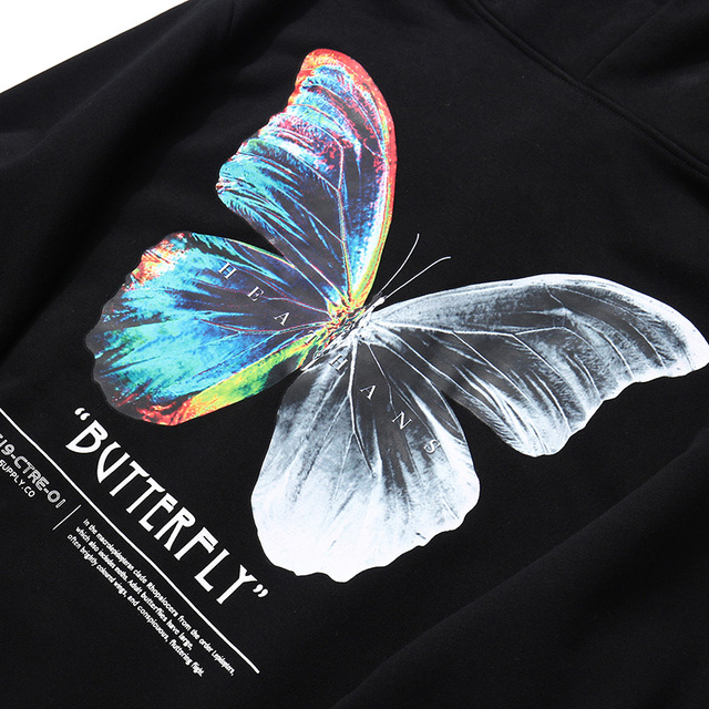 2020 Men Hip Hop Sweatshirt Hoodie Color Butterfly Streetwear Harajuku Pullover Hoodie Cotton Fleece Winter Autumn Black Hoodie 5