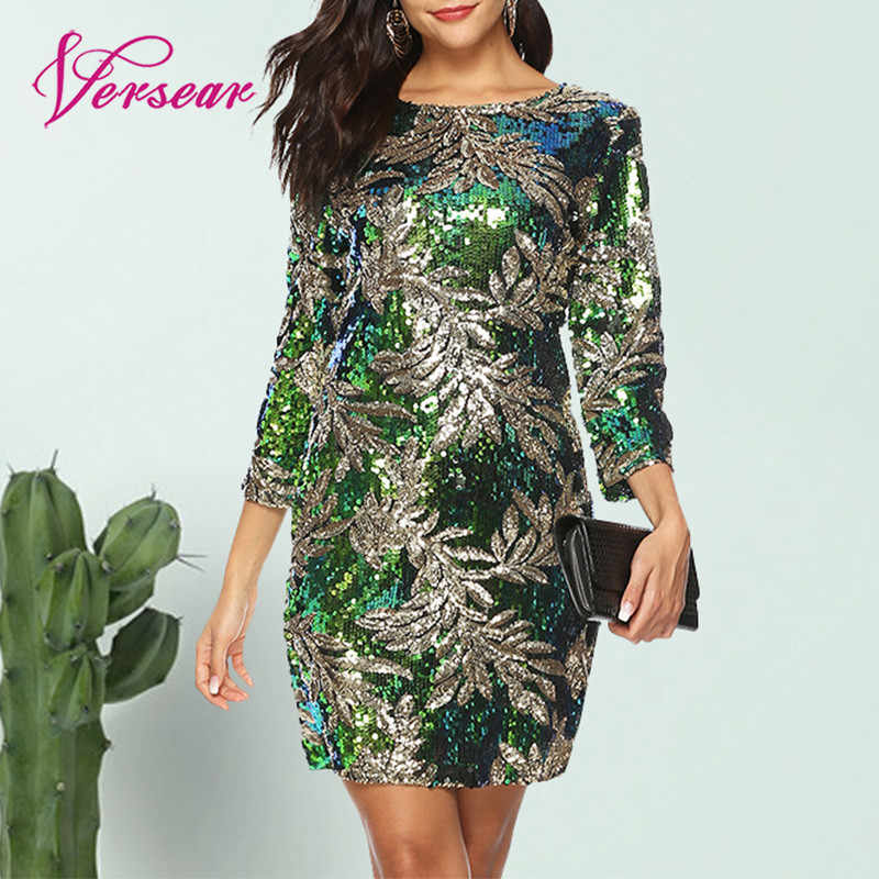 Versear Women Bodycon Dress Sequined Glitter Bling 3/4 Sleeves O Neck Evening Party Casual Mini Dress Elegant Streetwear Vestido