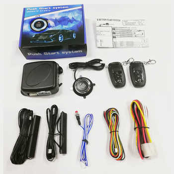 Car PKE Keyless Entry system one start stop button alarm system with remote control for 12v car engine autostart accessories