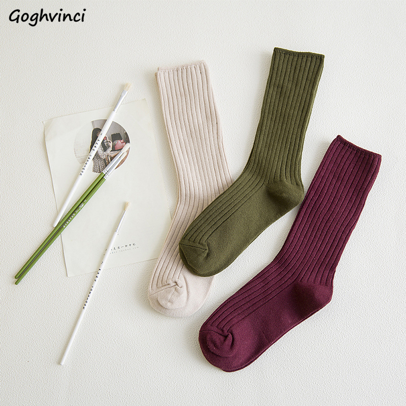 Socks Women Harajuku Winter Trendy Elegant All-match Ulzzang High Elasticity Korean Style Ladies Soft Warm Student Chic Simple