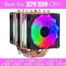 6 тепловые трубки RGB Процессор кулер бесшумный PWM 4PIN 130W TDP для Intel 1150 1155 1156 1366 2011 X79 X99 AM2 AM3 AM4 Ventilador