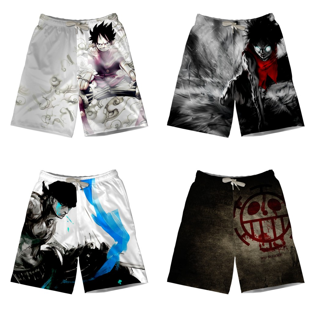Anime One Piece Beach Shorts Luffy Zoro 3D Print Teenager Men's Quick-drying Surfing Sports Pants Boardshorts Modal Streetwear