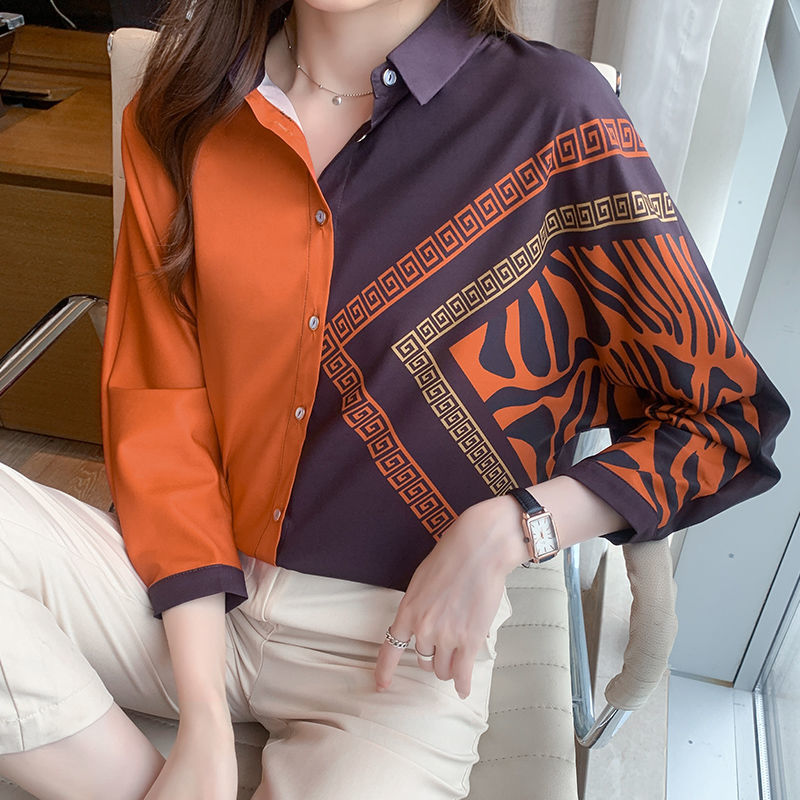 Silk color-blocking shirt women 2021 new fashion satin eight-quarter sleeve color mulberry silk blouse