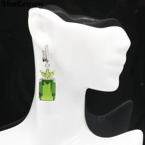 44x13 мм Элегантный прямоугольник 18x13 мм Зеленый Перидот натуральный CZ подарок для Сестры Серебряные серьги кулон