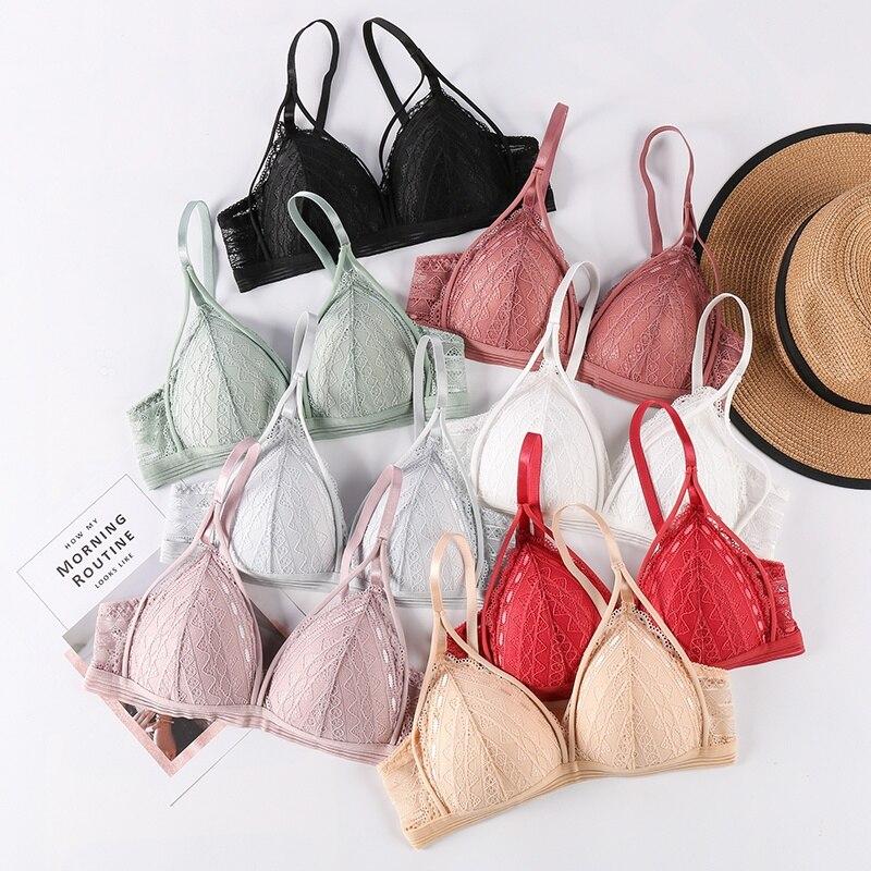 Seamless Deep V Lace Bra Wireless Thin Underwear Sexy Lingerie Soft Push Up Bras For Women