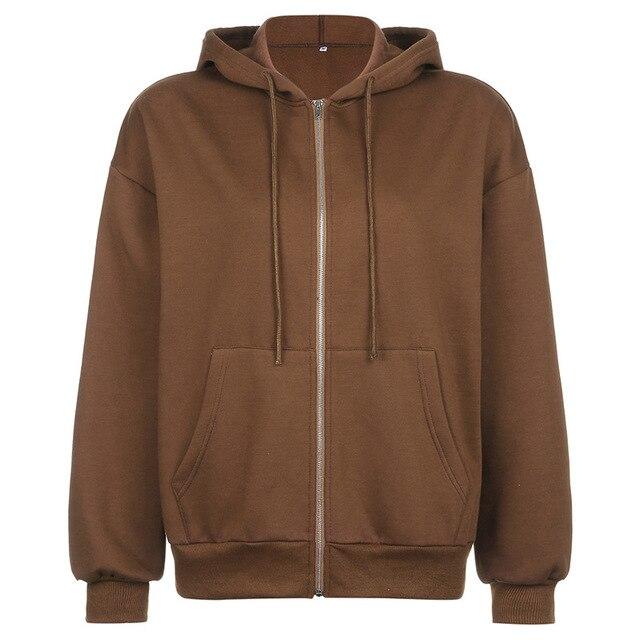 BiggOrange Brown Zip Up Sweatshirt Winter Jacket Clothes oversize Hoodies Women plus size Vintage Pockets Long Sleeve Pullovers 6