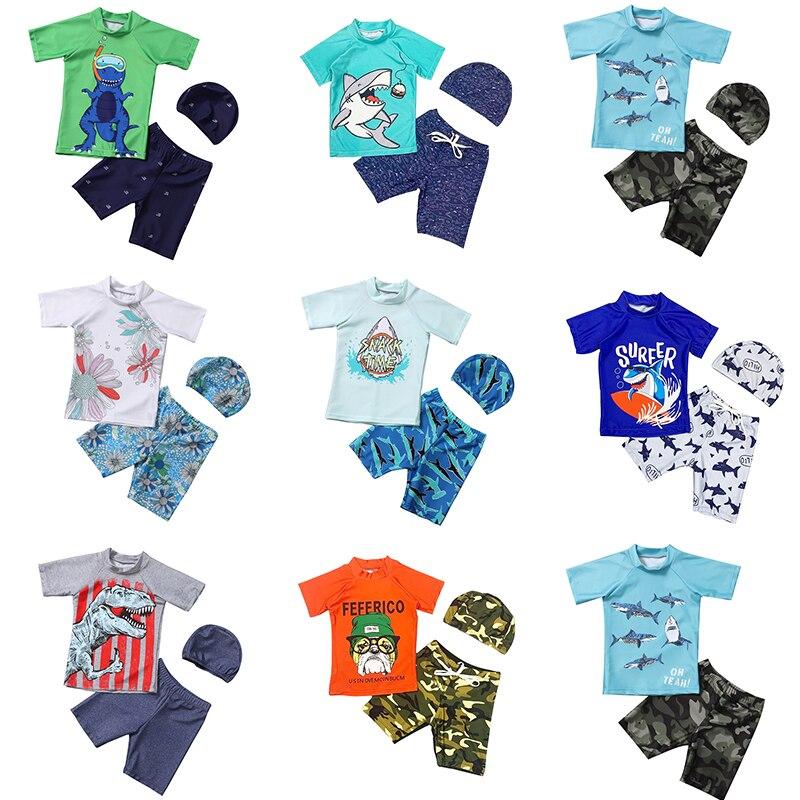 Мультфильм купальный костюм для мальчиков, детский комплект одежды из 3 предметов: футболка с короткими рукавами Сыпь гвардии UPF50 + защищают ...