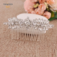 TOPQUEEN H49 Handmade Silver Bridal Hair Comb with Rhinestone and Ctystal High Quality Wedding Combs Elegant Headwear Headpiece