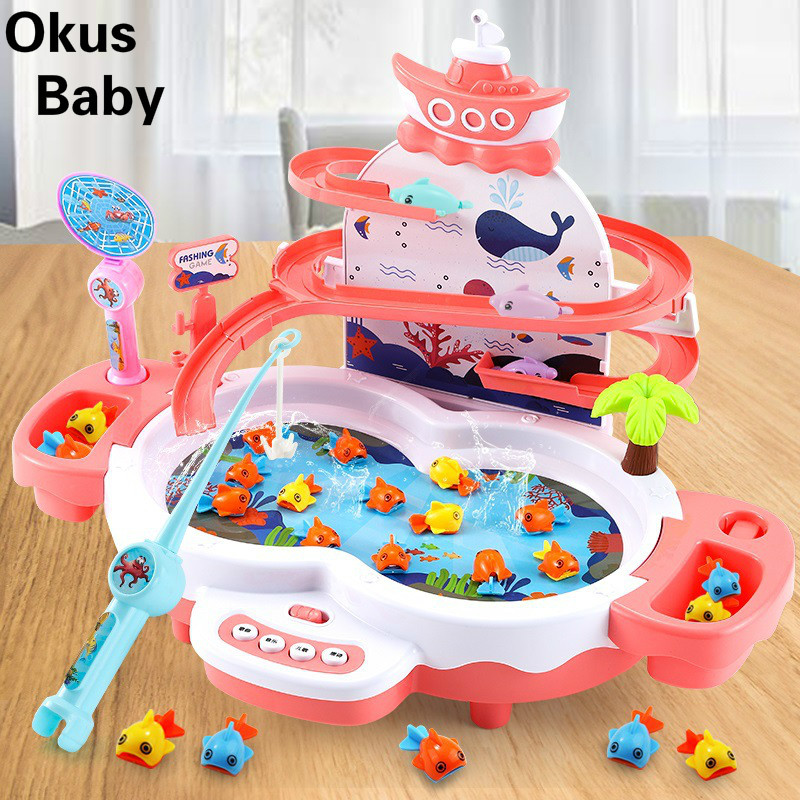 Children's Fishing Toys Music Lighting Maglev Track Fishing Toy Suit Parent-child Interactive Education Study Toys Game Gifts
