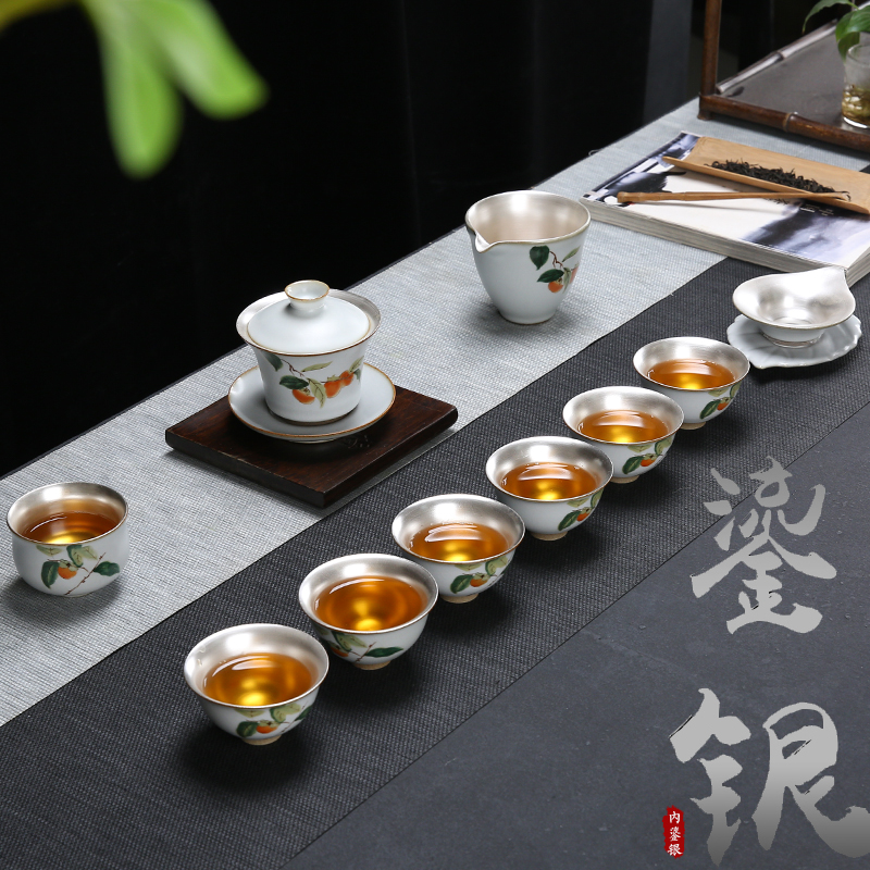 Porcelain Silver Tea Set Set Household Kung Fu Silver Tea Cup Cover Bowl Teapot Tea Ceremony Ru Kiln Ceramic Gift Pack