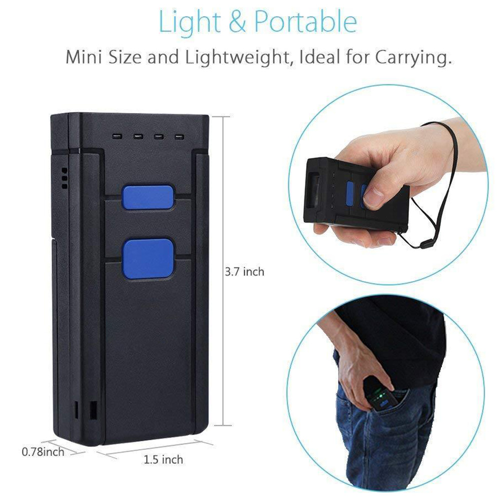 Ordinateur Led sans fil Bluetooth paiement Mini lecteur de codes à barres poche Mobile lecteur alimenté par batterie Portable rapide Portable