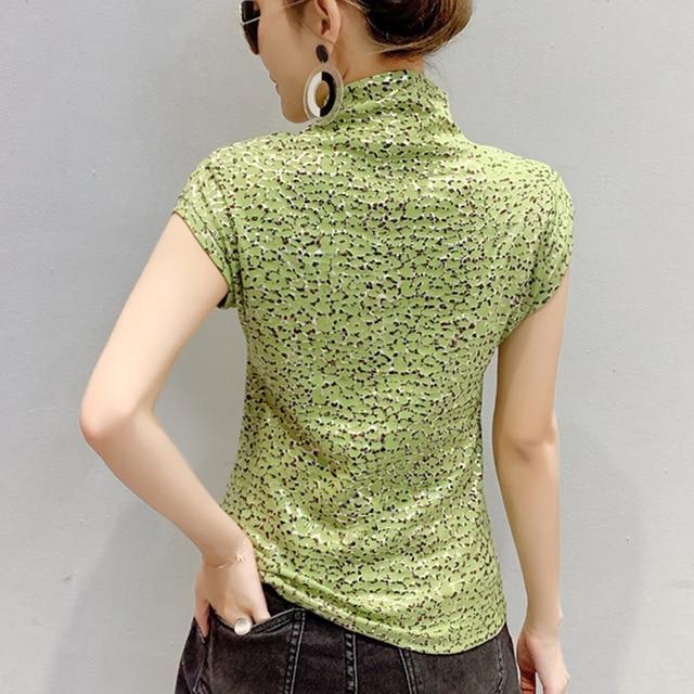 Shintimes-Camiseta con estampado de leopardo para mujer, Camiseta de cuello de tortuga, camiseta de manga corta para mujer, ropa de talla grande 3XL 2020 6