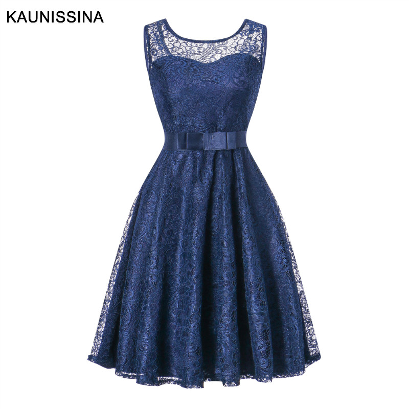 KAUNISSINA Lace Party Dress Elegant Cocktail Gown Robe Solid Sleeveless Homecoming Banquet Prom Dress