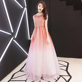 FZSLCYIYI Fashion Luxury Shining Evening Dress Elegant Banquets Gradient red V-neck Sexy Backless Long Formal Prom Gown Vestidos