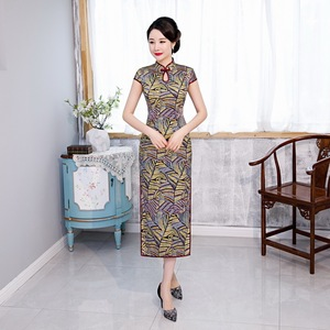 Image 2 - 2020 אביב חדש משי cheongsam ארוך יומי השתפר כבד משקל cheongsam שמלת תות משי cheongsam גבוהה כיתה