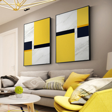 Abstract Yellow White Canvas Painting Geometry Posters And Print Wall Art Pictures For Living Room Bedroom Nordic Home Decor birds abstract nordic wall pictures poster print canvas painting calligraphy decor for living room bedroom home decor frameless