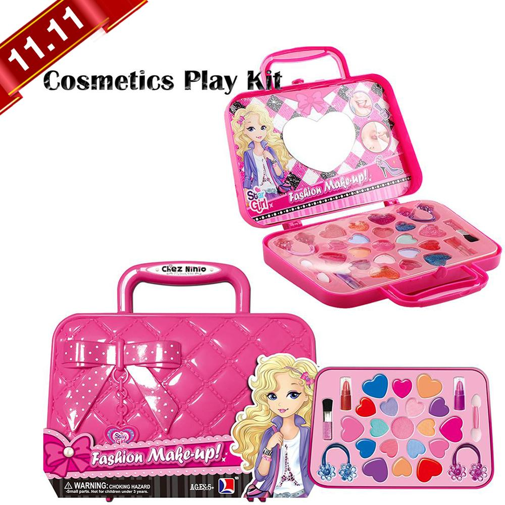 Safety Non-toxic Kids Makeup Toy Pretend Play Kid Makeup Set Makeup Kit Toy For Girls Dressing Cosmetic Travel Bag Beauty Toy