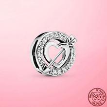 Clipe de reflexão novo 925 prata esterlina coração assimétrico e seta clipe charme ajuste malha pulseira diy prata 925 jóias presente