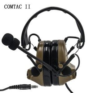 Image 2 - 전술 comtac ii airsoft 군용 헤드셋 픽업 소음 감소 헤드폰 슈팅 u94 ptt가있는 청력 보호 장치