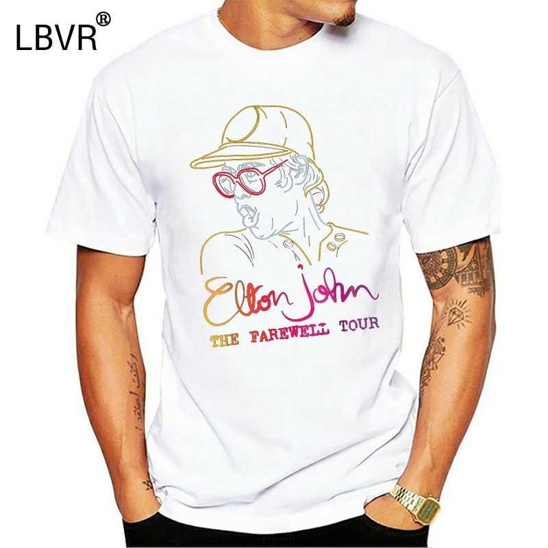 Elton John Tur Perpisahan Penggemar T Shirt Hitam Ukuran S-3Xl Panas Musim Panas Kasual Kemeja TEE