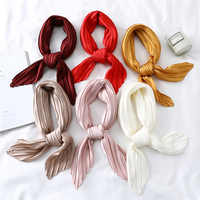 2020 New Solid Black White Pink Small Square Twill Silk Satin Neck Scarf Women Ladies Crinkle Hair Headband Scarves 70cm*70cm