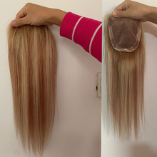 Highlight Brown and Blonde Hair Topper Mono+pu+Clips Remy Human Hair Topper Toupee Women 12*15cm 8-20 inches Ombre Color