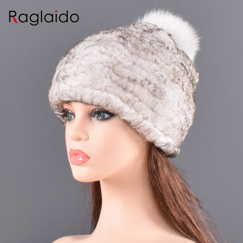 Bomber Hat Winter Real Rabbit Fur Hats For Women Fox Fur Pompom Slouchy Beanies Fashion Warm Tick Fluffy Elastic For Lady