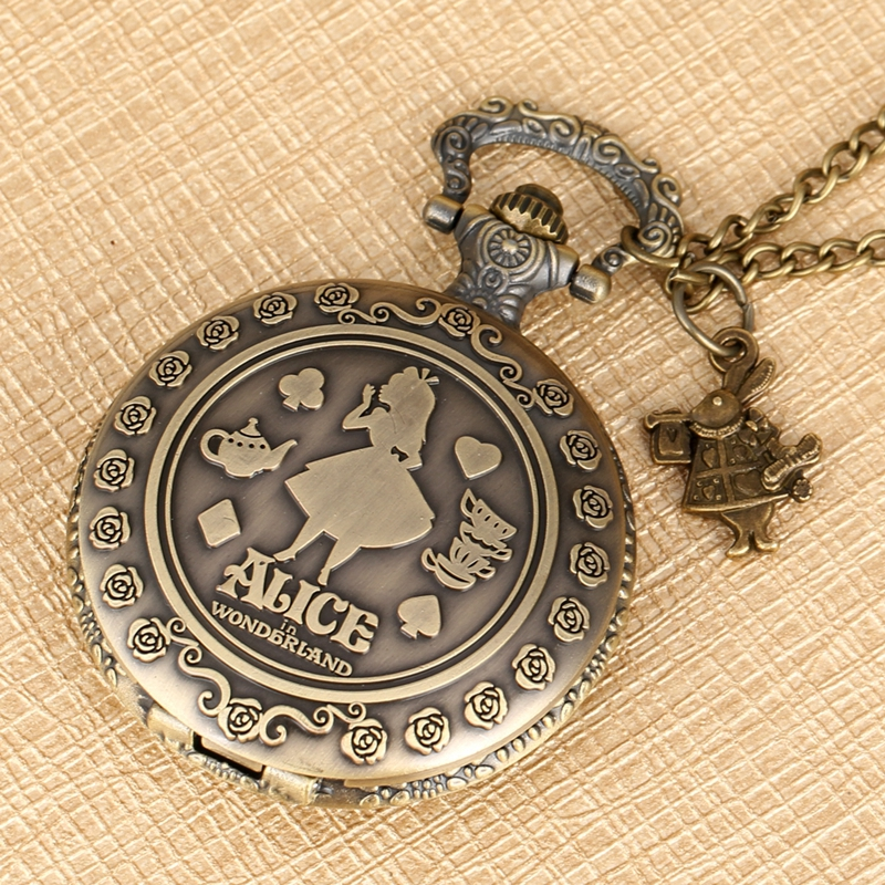 Alice In Wonderland Quartz Pocket Watch Necklace Women's Rabbit Flower Clock Top Luxury Novelty Christmas Gifts For Girlfriend