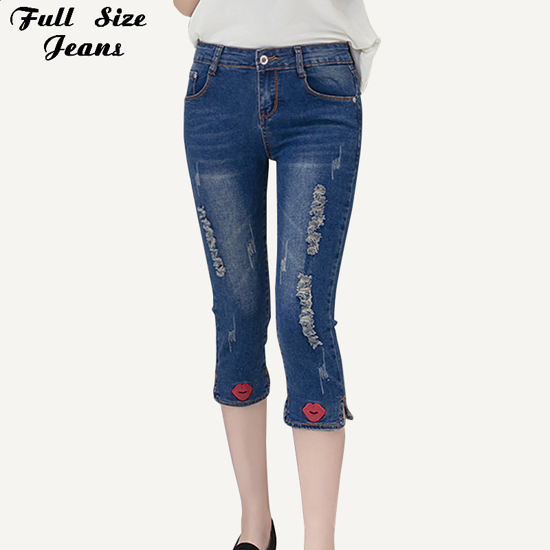 Plus Size Women Red Embroidery Capris Jeans Mom 4xl 5xl Summer Vintage Ripped Slim Hip Ankle Length School Wear Denim Pantalones