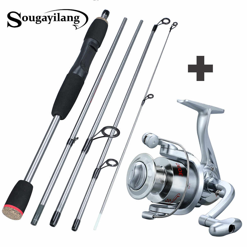 Sougayilang 170 センチメートルポータブル釣竿コンボ 5 セクションルアーフィッシングロッドスピニングリール塩水と淡水ペスカ