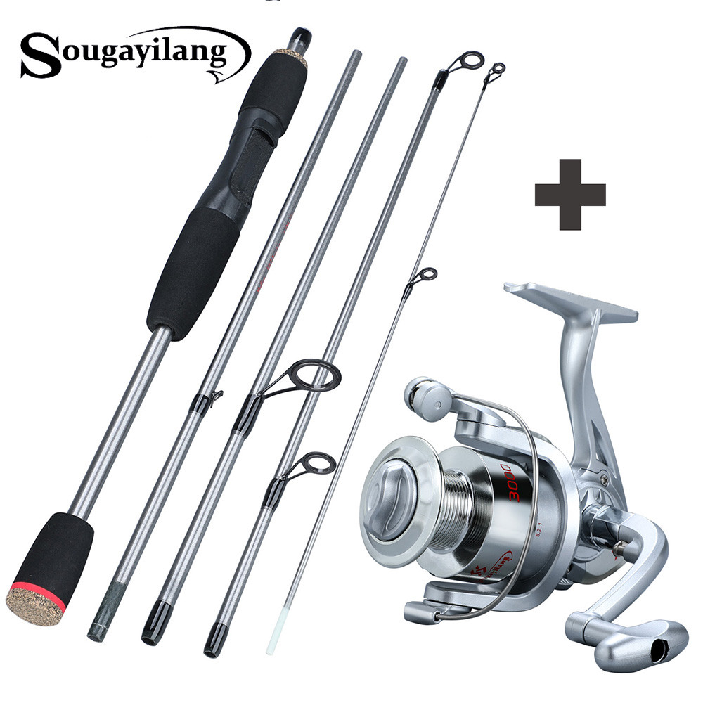 Sougayilang 170cm Portable Fishing Rod Combos 5 Section Lure Fishing Rod with Spinning Reel for Saltwater Freshwater Pesca|Fishing Rods| |  - title=