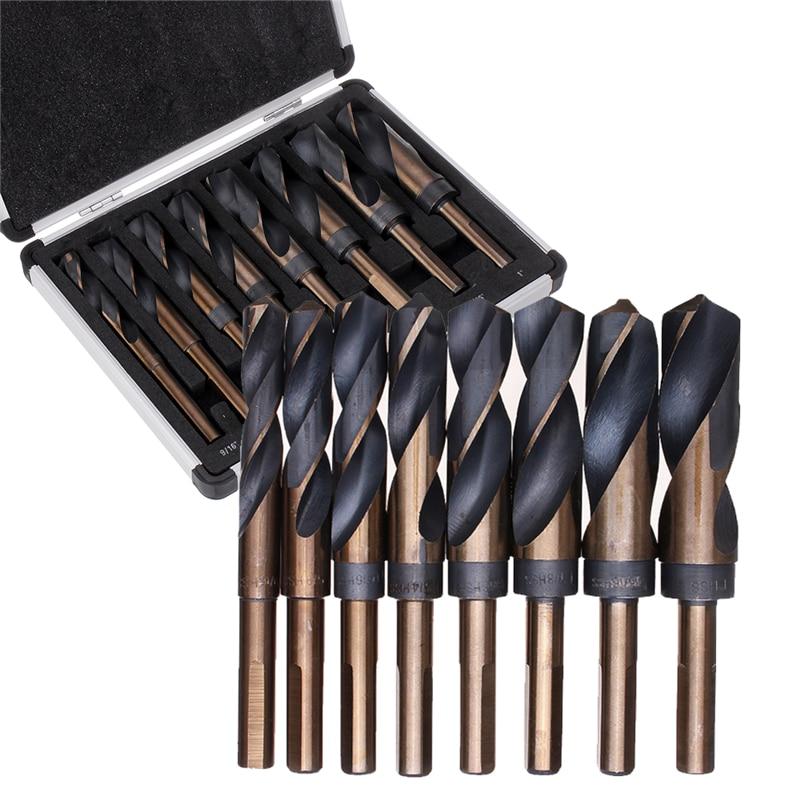 High Quatity 8pcs 1/2 Inch Shank HSS 4241 Cobalt Twist Drill Bit Set 9/16 To 1 Inch Twist Drill For Wood Metal