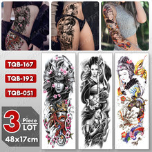 3 pz/lotto di Grandi Dimensioni Manica Del Braccio Del Tatuaggio Geisha fiori di Ciliegio Impermeabile Tatto Sticker Gamba Temporaneo Body Art Pieno Falsi Tatoo Donne(China)