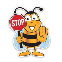 Car Sticker BEE STOP Decorate Automobiles Motorcycles Exterior Accessories PVC Decal 18cm*14cm cheap The Whole Body Glue Sticker 0 01cm Stickers cartoon Creative Stickers Not Packaged