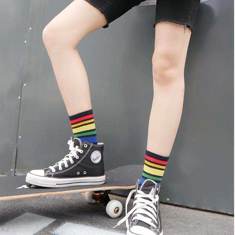 Harajuku moda spor çorap kadın çorap gökkuşağı çizgili çorap sonbahar kış pamuk çorap beyaz siyah Streetwear Sox Dropshipping
