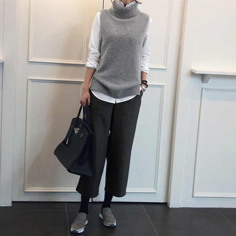 Dsannignt 2019 Thu Đông Cashmere Áo Vest Nữ Cổ Bẻ Áo Dệt Kim Áo Vest Nữ Cổ Cao In Plus Kích Thước