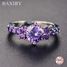 Trendy Gemstones Silver 925 Jewelry Aquamarine Ring For Women Amethyst Blue Sapphire Cocktaill Swarovski Rings
