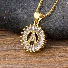 Collier doré avec pendentif en 26 lettres, bijou en Zircon, Micro pavé, initiales, pour Couples, meilleur nom de famille