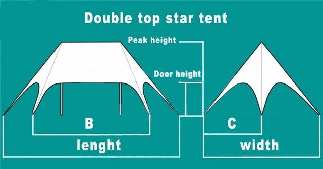 10m x 14m Twin Poles Star Marquee Shade Canopy Event Tent Trade Show Event Outdoor Party Wedding PVC Material Stretch Fly Tents