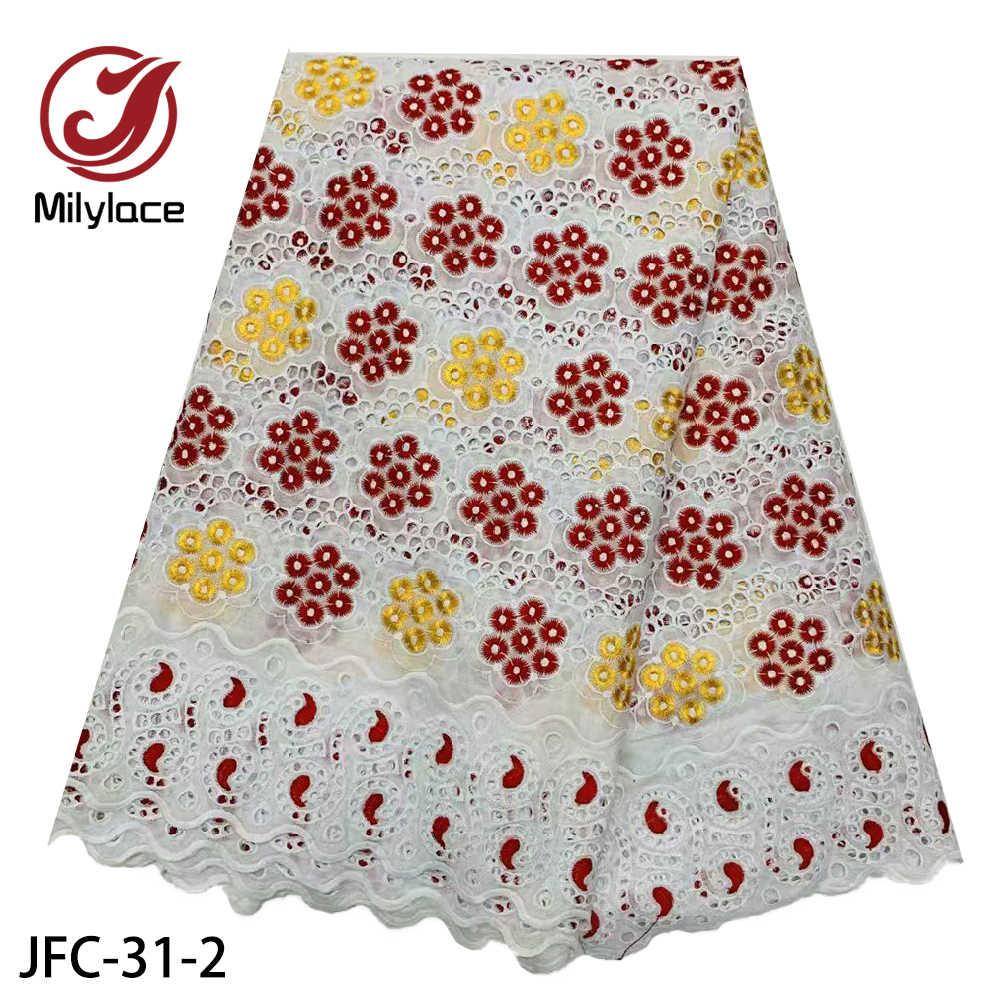 Milylace 100% хлопок африканская сухая кружевная ткань с камнями швейцарская вуаль кружево высокое качество нигерийская кружевная ткань для женщин JFC-31